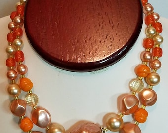 Vintage Peach and Orange Bead Multi Strand Necklace Marked Japan