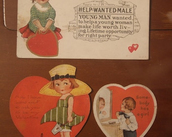 Vintage 1930s  Lot of 3 Valentine Valentines Cards Post Card Grace Drayton