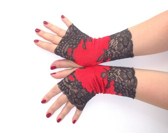 """Lace fingerless gloves """"Red with black"""" of stretch lace"""