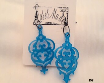 Blue Acrylic 1/8 Thick Fishhook Earrings