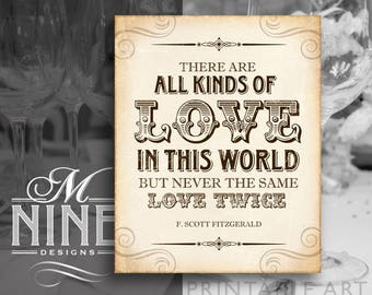 Rustic Wedding Sign Printables / All Kinds of Love In This World / Gatsby Quotes, Letterpress Printable Party Downloads, Wedding Signs BWR75