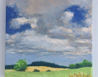 Landscape Painting Fields Original Painting on Canvas 8x8 Summer Meadow Sky Clouds