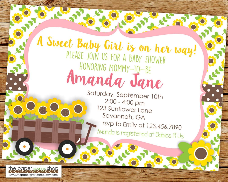 Amazing Sunflower Baby Shower Invitations Ideas - Invitation Card ...