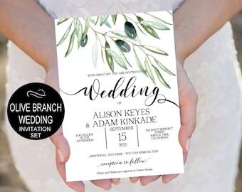 Olive Branch Wedding Invitation Template-Wedding Rustic Watercolor -DIY Printable Wedding Invitation-PDF-Instant Download  VRD135WDK