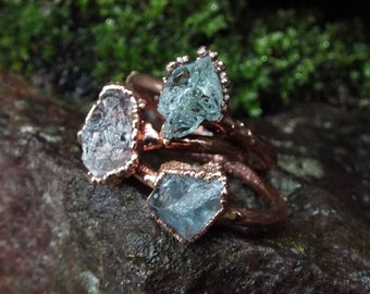 Aquamarine ring, aquamarine, statement ring, gemstone ring, Crystal ring, boho, rustic, engagement ring, raw-ring, aquamarine ring Raw Crystal