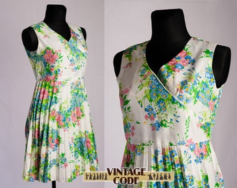 White floral pleated green pink vintage dress  / Sleeveless Casual 70s vtg Wide skirt Accordion Pleated dress / size Large XL
