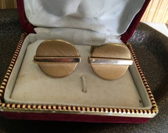 "Vintage 60's ""GENTLEMEN'S CUFF LINKS"" in Gold Toned - Modernist Style"