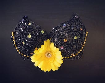 BLACK AND YELLOW Rave Bra