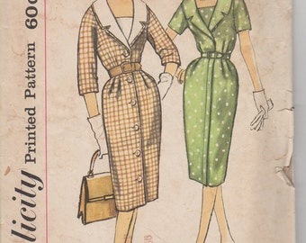 Bust 33-1960's Misses' Dress With Detachable Collar and Vestee Simplicity 3346 Size 12 1/2