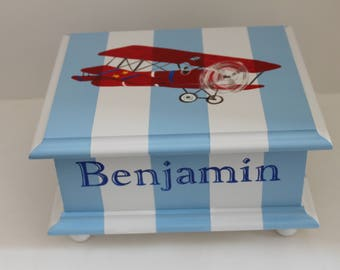 Baby keepsake box baby Memory Box personalized hand painted vintage airplane baby boy gift baby shower gift