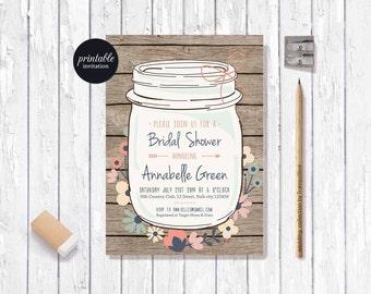 Rustic Bridal Shower Invitation Printable Mason Jar Bridal