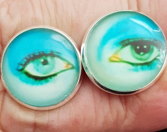 David Bowie Eyes 14mm Cabochon Cufflinks Silvertone