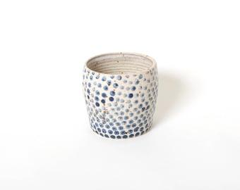 Succulent planter, Blue white planter, Plant lover gift, Polka dot planter, Pottery gift, Round ceramic planter, Flower pot, Gift for her
