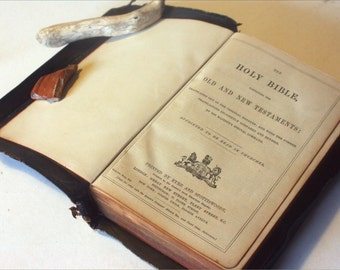 Holy Bible Antique 1900s Christian religious book old book Vintage Bibles unique gifts