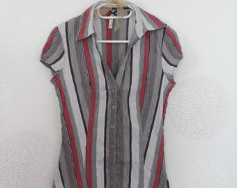 Shirt/blouse woman in red/grey/white stripe Vintage dating from the 1990s