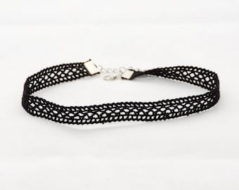 Choker Necklace Lace Black Pane