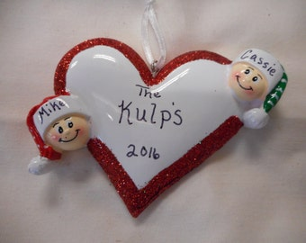 2 family heart ornament// personalized christmas ornament// family of 2 heart//christmas ornament//personalized