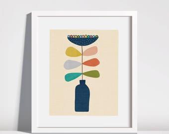 8x10  Flower Vase Illustration Downloadable Printable Art Instant Art Drawing  Kids Room Nursery Art Print Mid Century Inspired Art