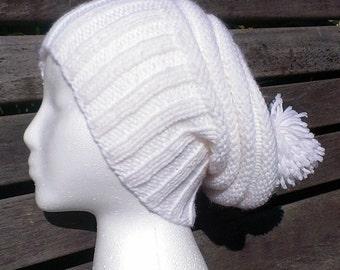 white winter hat, white hat, white beanie, white knit slouchy hat, winter white beanie, white pom pom hat,  white knit beanie