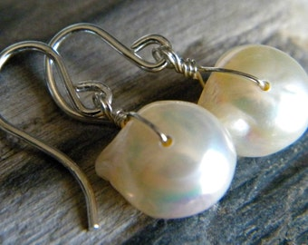 Baroque fancy large white cultured pearl earrings - June birthstone bright sterling silver handmade wire wrapped jewelry
