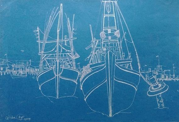 "DOCKED 14x9"" Ink on Paper, Mekong Delta (Sông Đốc, Cà Mau Province) Original by Nguyen Ly Phuong Ngoc"