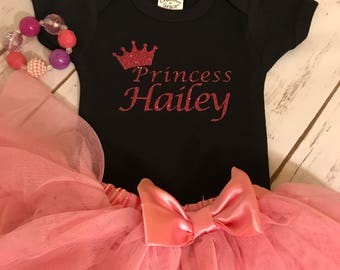 Glitter Princess Monogram Onesie or T-shirt/ Customized with Name/Baby shower gift/ New Baby/New Mom gift/Princess/crown