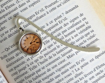 Bookmark steampunk time clock vintage man or woman. Bookmark bookmark in silver and cabochon. Father's day gift
