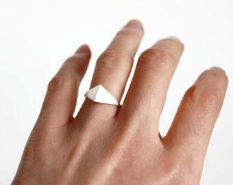 Geometric minimalist ring, geometric silver ring, minimalist silver ring, teardrop silver ring, simple silver ring, triangle silver ring