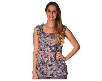 Empire tunic in Navy Blue lightweight fabric with orange and pink flowers and green leaves