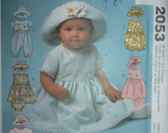 McCalls Pattern 2053 Infant's Dress, Rompers in Two Lengths wth Snap Crotch,Panties and Hat   Sizes: Small-Med-Large- X-Large