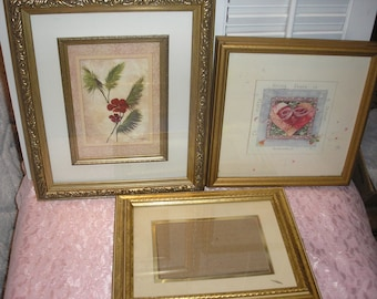 Ornate Gold Tone Wood Picture Frames  Lot 3