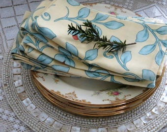 Vintage Linen Napkins, Yellow Blue Floral Napkins, Set of 6, Spring Luncheon Napkins
