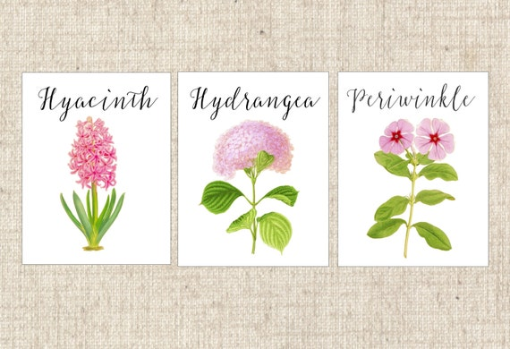 PINK Flower Table Numbers Pink Cards Floral Tents Rose Dahlia Peony Hydrangea Daisy Carnation Lily