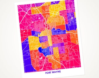 Fort Wayne Map Print.  Choose the Colors and Size.  Indiana Wall Art.