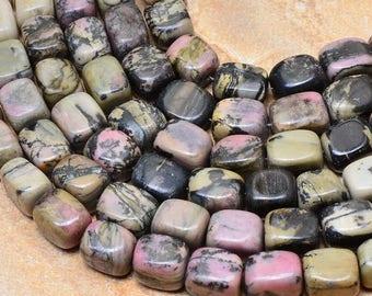 Set of 4 beads of natural Rhodonite 12x9x9mm