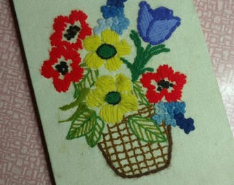 Crewel Vintage needle work Floral Embroidery Hand Stiched