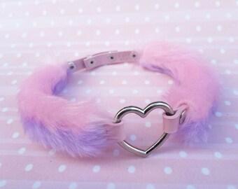 BDSM Collar, DDLG Daddy Decora Kei Kawaii Choker, Daddys Girl Collar, Fluffy Heart Choker Daddy Dom, Pastel Goth Harajuku Chocker Pink Fuzzy