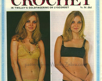 Vintage Crochet Pattern PDF 004 Two Mod Bikinis from WonkyZebra