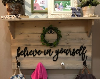 Believe in Yourself Wall Decor Wood Cutout, Wooden Word