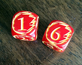 Engraved FIREBALL Dice for Tabletop Gaming - Red