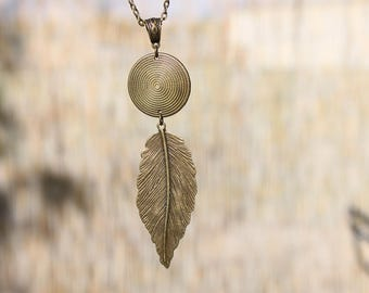 Boho Necklace Pendant Necklace Brass Necklace Bohemian Necklace Pendant Bohemian Jewelry Boho Jewelry Gypsy Necklace Ethnic Gift for women