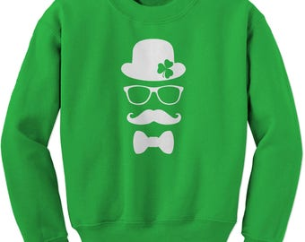 Derby, Mustache and Shamrock Adult Crewneck Sweatshirt