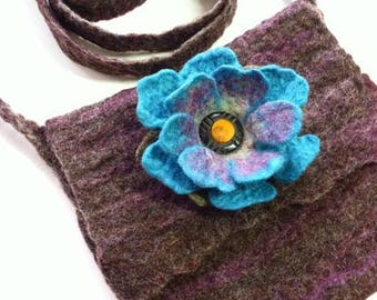 Flower Purse made with Wet Felted Wool and Vintage Bakelite Button, Turquoise, Brown, and Purple, Handmade, Seamless