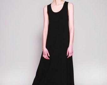 Black Maxi Dress, Sleeveless, Long Summer Dress, Tank Dress, Black Dress,  Minimalist, Casual Dresses, Black Dresses For Women