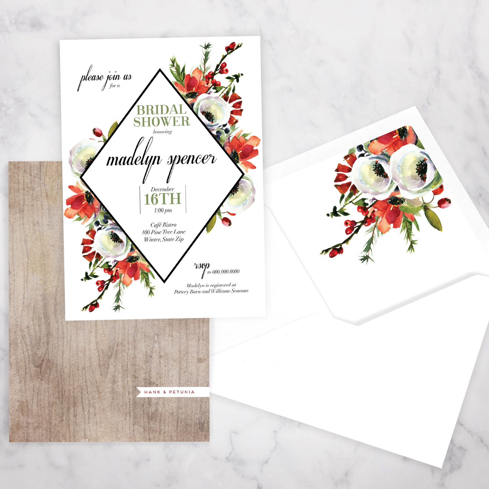 Winter watercolor bridal shower invitation winter bridal shower winter watercolor bridal shower invitation winter bridal shower invitation christmas bridal shower invite envelope liner filmwisefo