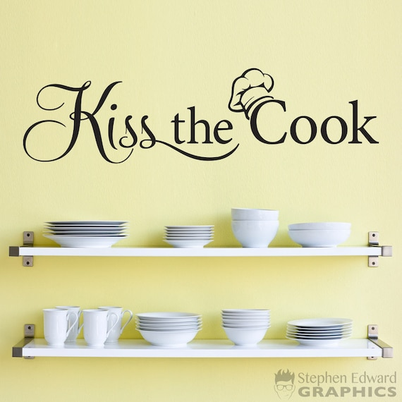 Kiss the Cook Decal Kitchen Decor Chef Wall Decal