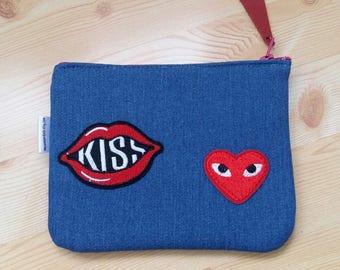 Denim purse,denim coin purse,patches denim,denim change purse,kiss purse,heart coin purse,patches bag,denim patches,zippered pouch,jeans