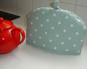 Small Tea Cosy for 18oz Stump Teapot Duck Egg and White Polka Dots Dot Spots