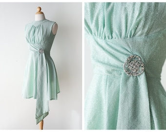Vintage 1960's Metallic Party Dress - Pastel Seafoam Cocktail Dress by Miss Rubette - Size Small