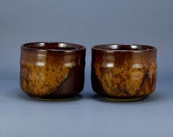 Pair Of Vintage Japanese Pottery Brown Glaze Chawan Tea Bowl